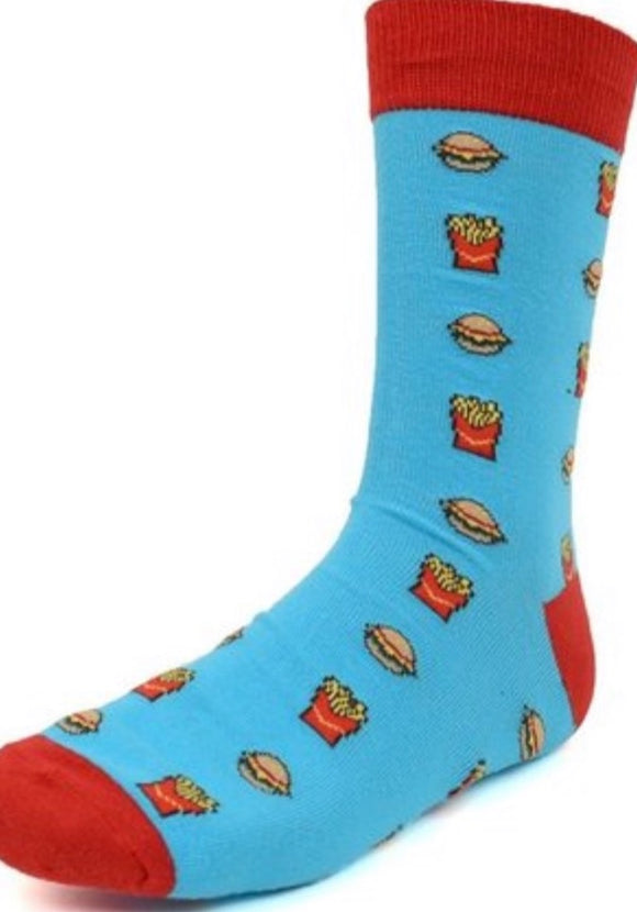 """Burgers and Fries"" Silly Socks In Blue"