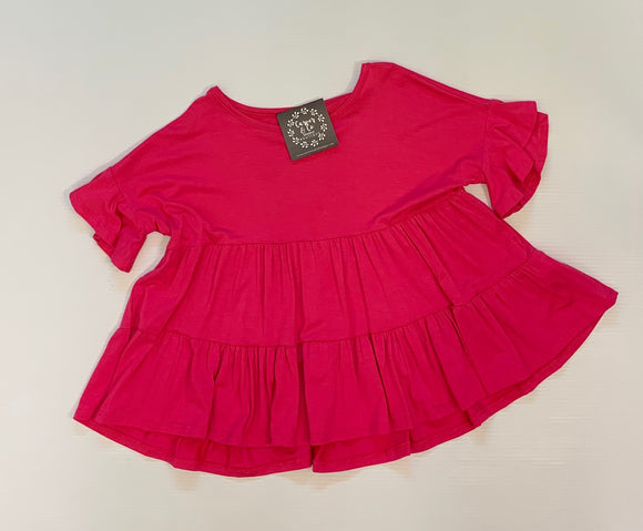 """Tiered Tunic"" Top In Hot Pink"
