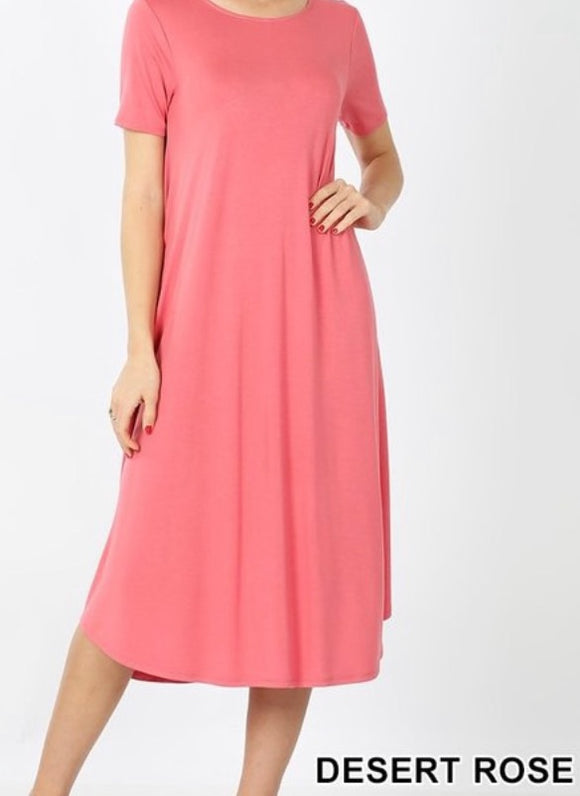 """The Perfect Fit"" Plus Swing Dress In Rose"