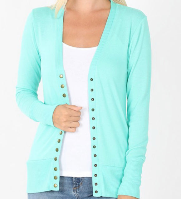 """All Purpose Cardigan"" Plus LS in Mint"