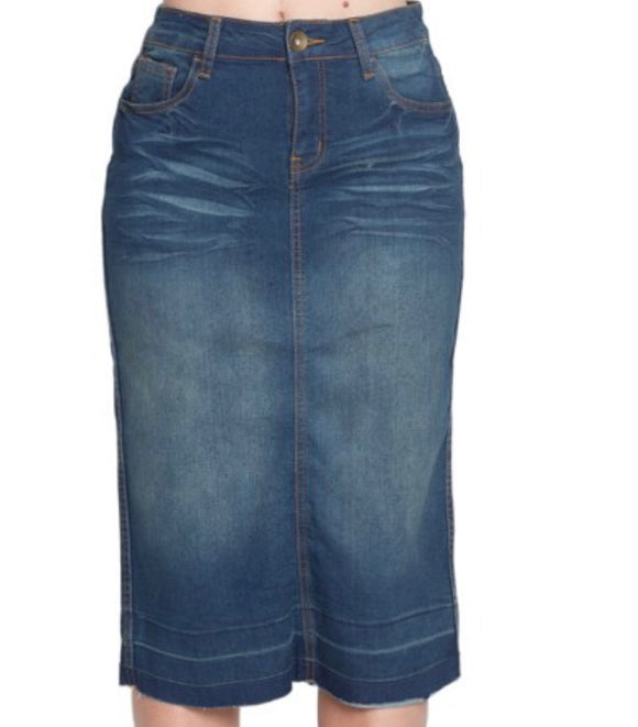 """Anna Grace"" Vintage Midi Denim Skirt"