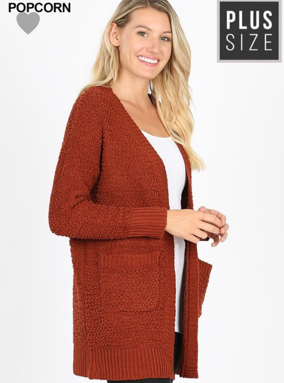 """Hold Me Close"" Popcorn Cardigan In Rust"