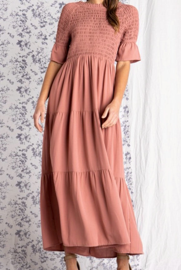 """Pretty in Paris"" Maxi Dress in Dusty Blush"