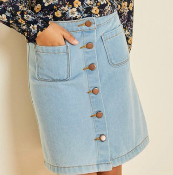 """Anna Rose"" Girls Denim Skirt"