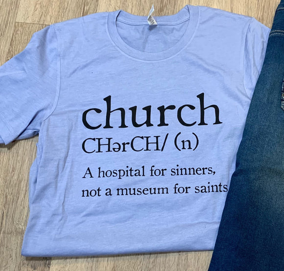 """Let's Have Church"" Tee in Light Blue"