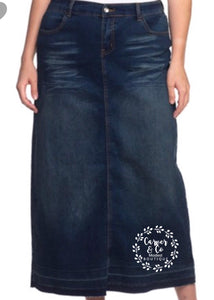 """Erica Reece"" Long Dark Denim Skirt"