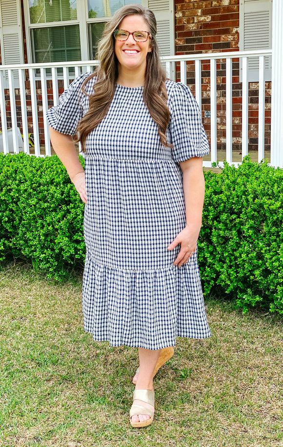 """Checking into Spring"" Plus Dress in Navy"