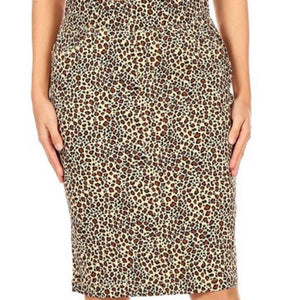 """Ellie Rae"" Midi Leopard Denim Skirt"