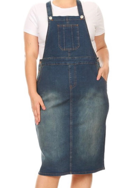 """Emma Claire"" Vintage Wash Plus Overall Dress"