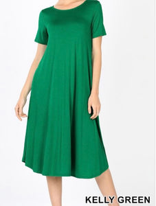 """The Perfect Fit"" Plus Swing Dress in Green"
