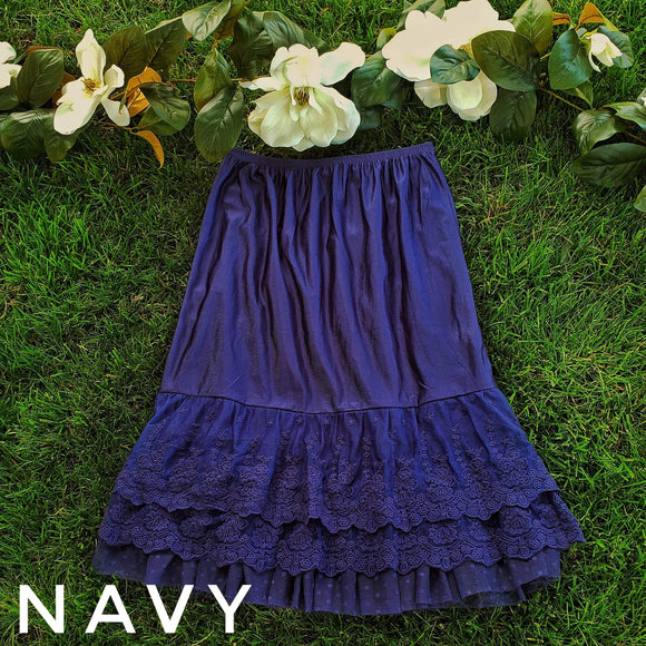 """Ruffles and Lace"" In Navy Blue"