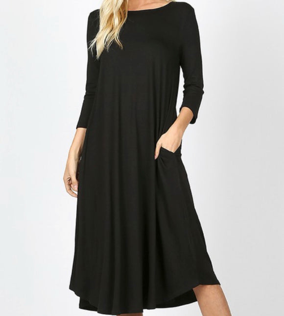 """The Perfect Fit"" Swing Dress in Black"