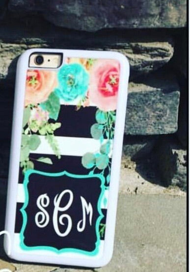 Big Floral with stripes and frame Phone case