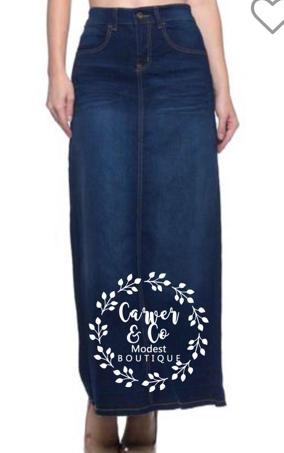 """Adalyn"" Plus Dark Long Denim Skirt"