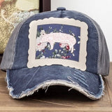 """Show Mom"" Navy Cap with Pig"