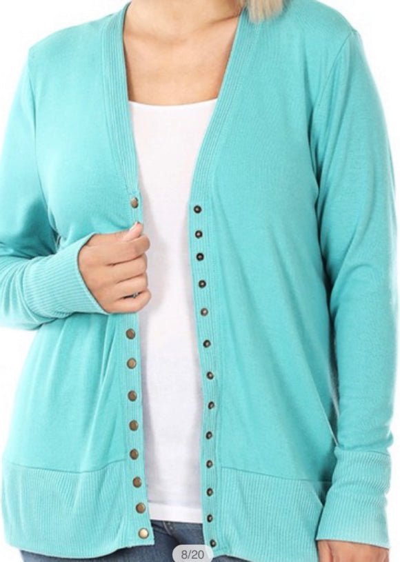 """All Purpose Cardigan"" Plus LS in Ash Mint"