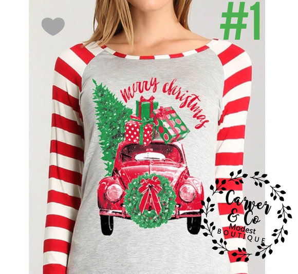 """Christmas Spirit"" Striped Sleeve Tee"