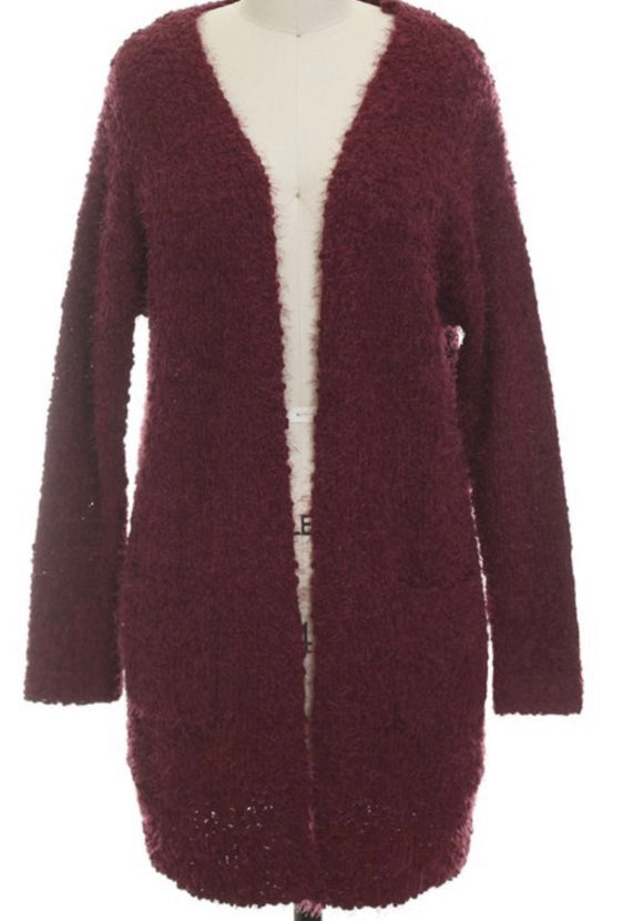 """Warm and Cozy"" Fuzzy Popcorn Sweater In Wine"