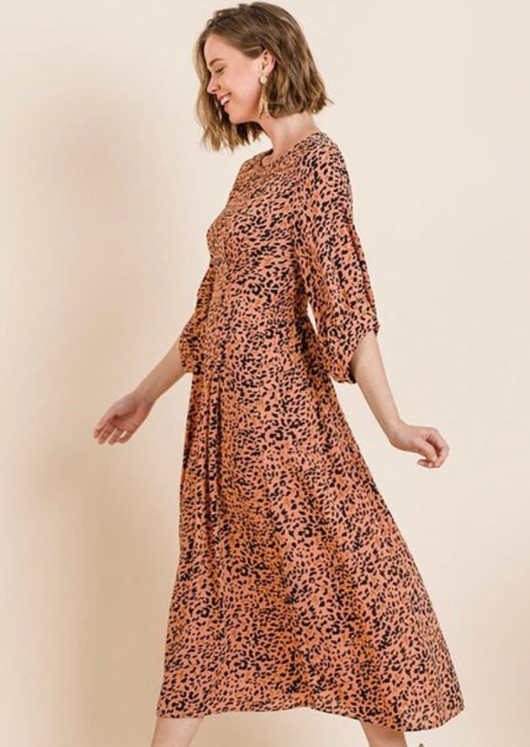 """Spot On"" Leopard Midi Dress."