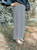 Perfect Pencil Skirt LONG Navy Striped Skirt