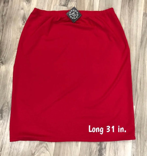 Perfect Pencil Skirt LONG in Red
