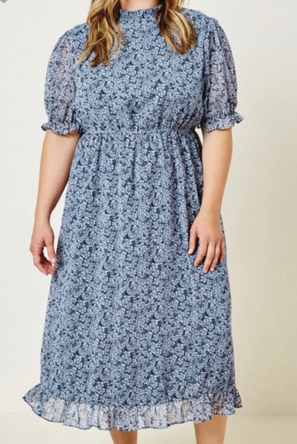 """In a Floral Frenzy"" Dress In Navy"