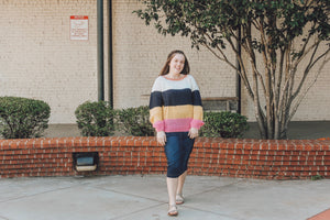 """Smiling is Contagious"" Color Block Sweater"