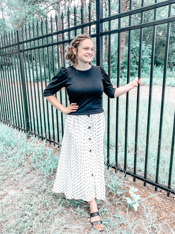 """Dotted with Pleats"" Midi Skirt"
