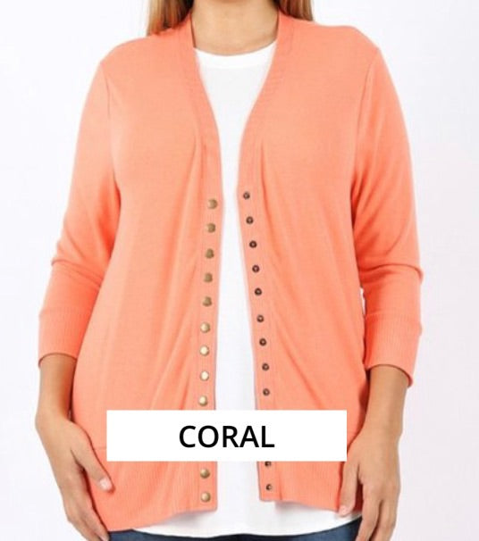"""All Purpose Cardigan"" Plus In Coral"