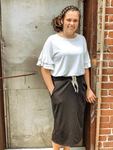 """Messy Buns and Getting It Done"" Midi Skirt"