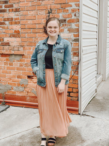 """Perfectly Pleated"" Midi Skirt in Rust"