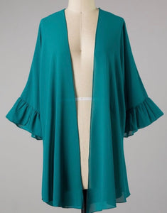 """Choose Joy"" Plus Cardigan In Jade"