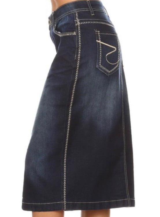 """Kayla Ann"" Dark Denim Midi Skirt"