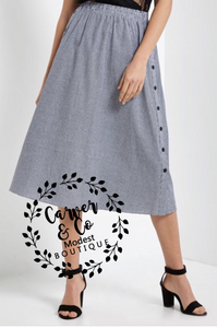 """Falling in Love"" Black Checked Midi Skirt"