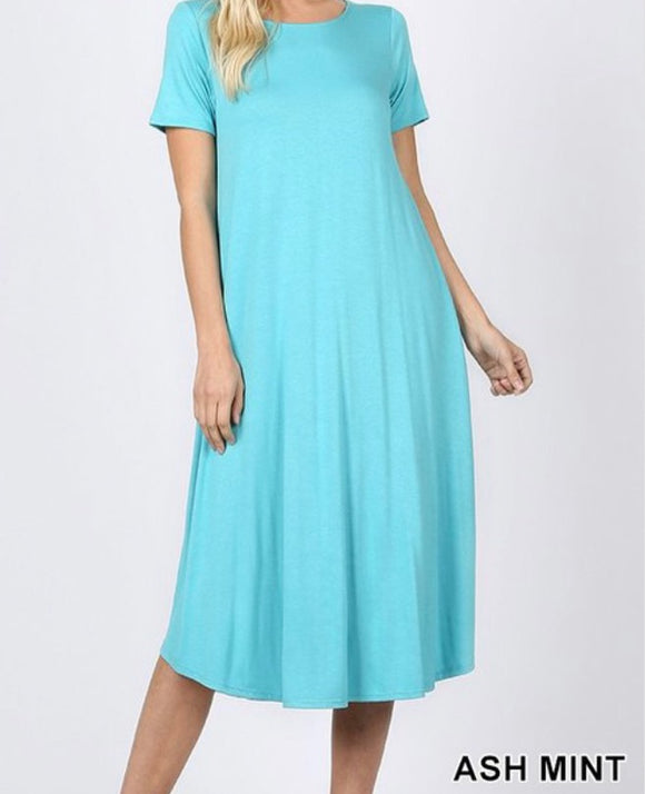 """The Perfect Fit"" Plus Swing Dress In Ash Mint"