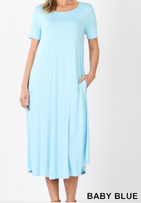 """The Perfect Fit"" Plus Swing Dress In Baby Blue"