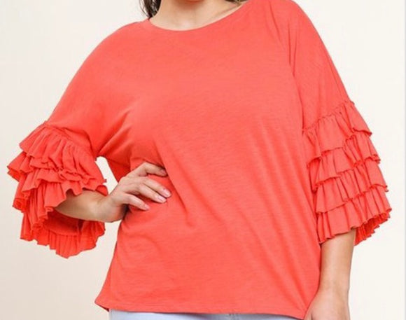 """Layered Ruffle Sleeve"" Top In Coral"