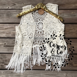 """Dainty and Delicate"" Cream Fringe Vest"