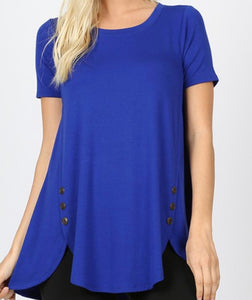 """Cute As A Button"" Short Sleeve In Royal"