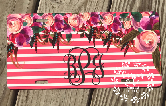 Pink Floral Overlay Car Tag