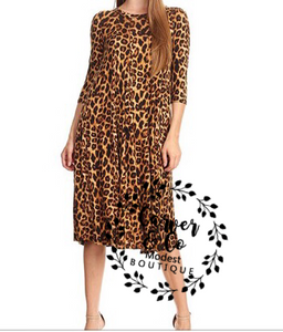 """Wild at Heart"" Leopard Swing Dress"