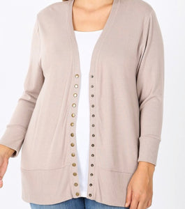 """All Purpose Cardigan"" Plus in Ash Mocha"