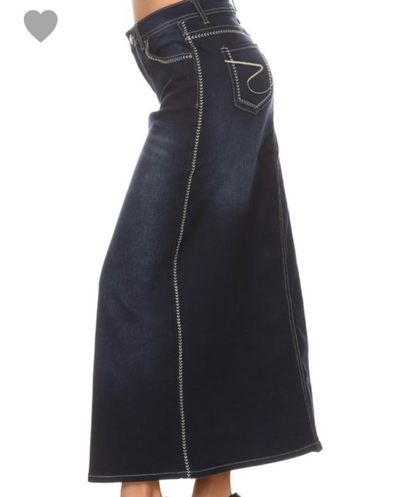 """KayLa Ann"" Plus Long Denim Skirt"