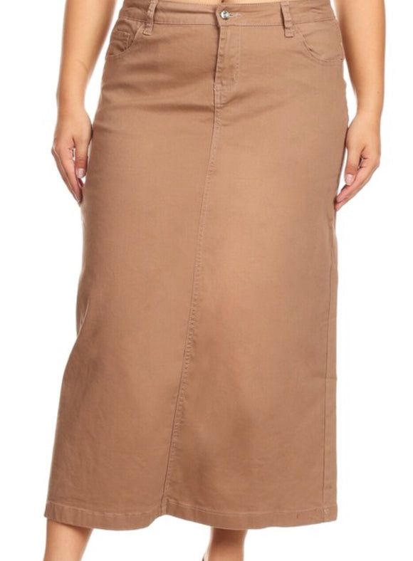 """Lindsey Kate"" Khaki Long Denim Skirt"