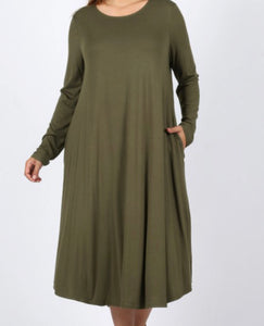 """The Perfect Fit"" Long Sleeve Plus Swing Dress in Olive"