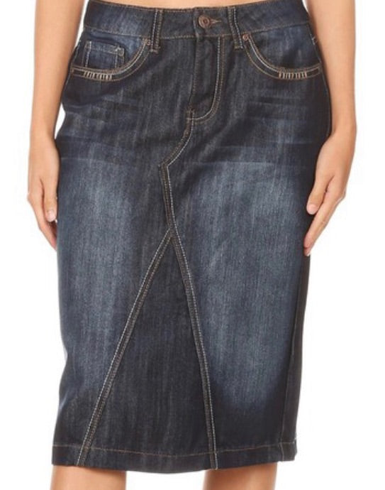 """Kathryn Hope"" Midi Denim Skirt"