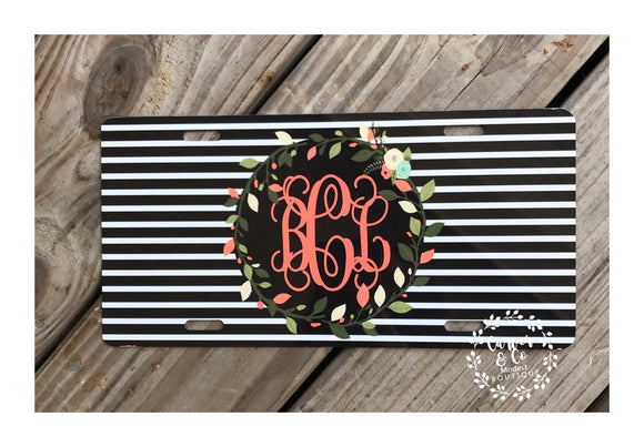 """Striped with Floral Wreath"" Monogrammed Car Tag"