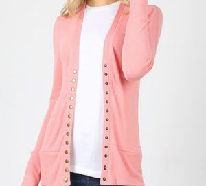"""All Purpose Cardigan"" Plus in Rose Pink"
