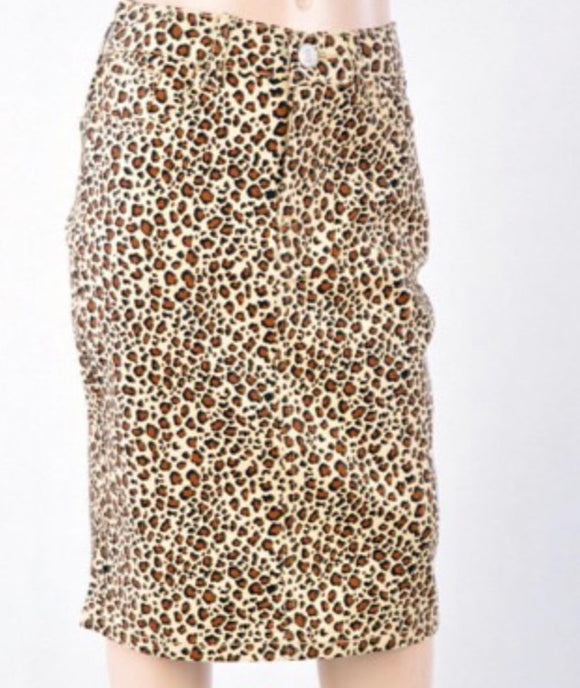 Girls Leopard Midi Denim Skirt