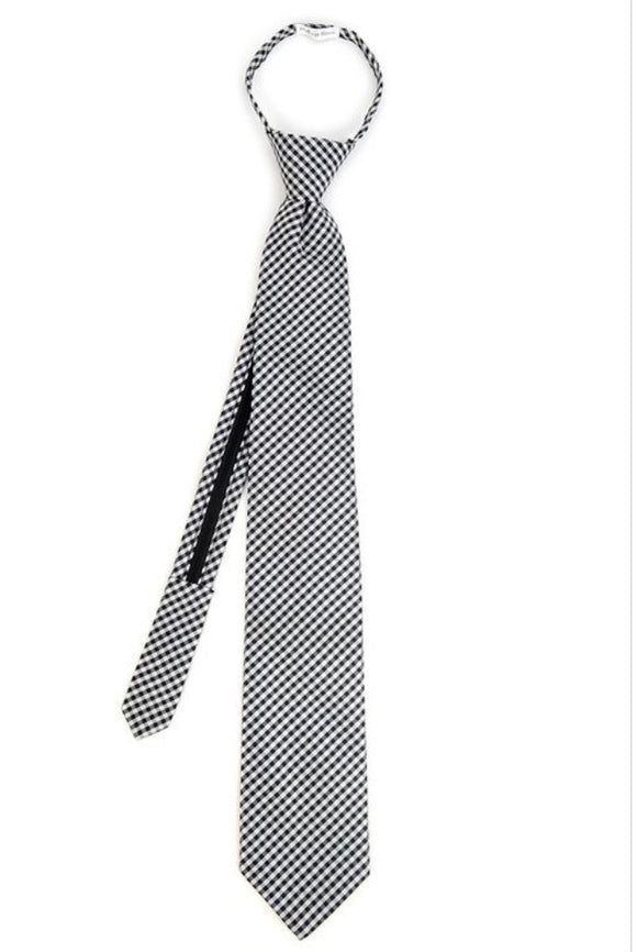 Zippered Tie In Black Checked